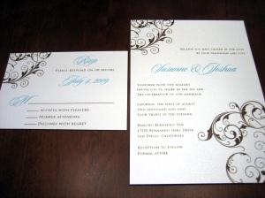 """Tiffany Blue & Chocolate Brown Fat 5X7"""" Invite"""