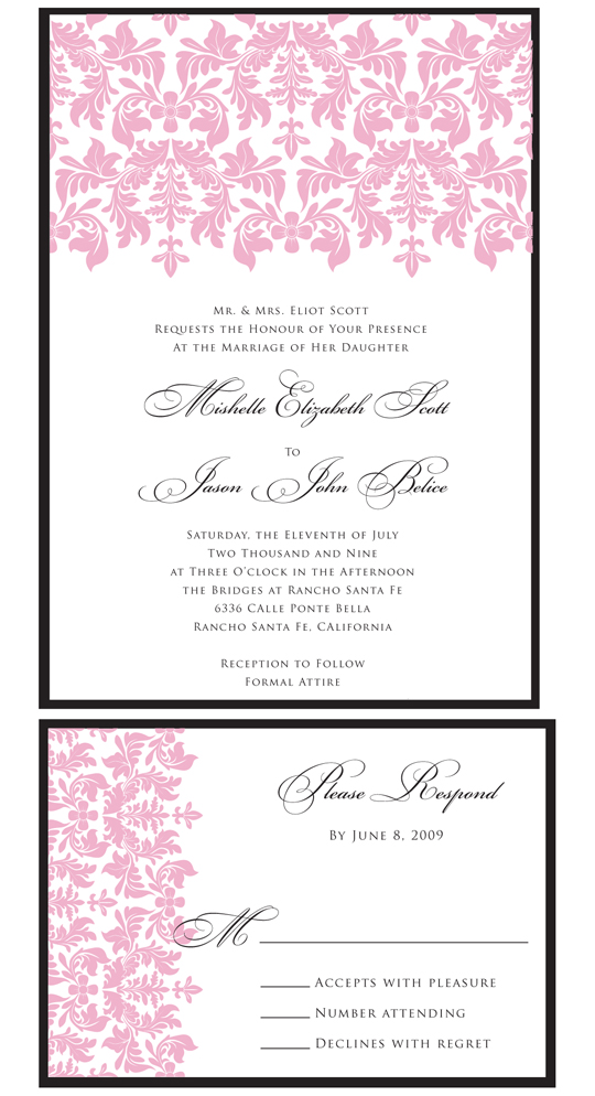 Chic Pink & Black Damask