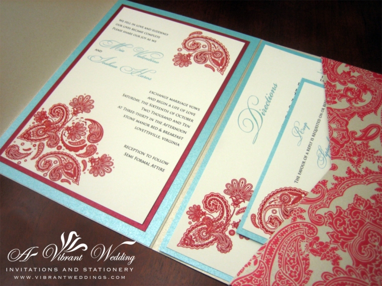 Red & Tiffany Blue Wedding Invitation