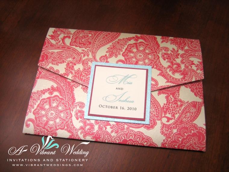 Red & Tiffany Blue Wedding Invitation