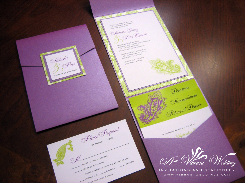 Orange And Green Wedding Invitations: Purple & Green Wedding Invitation