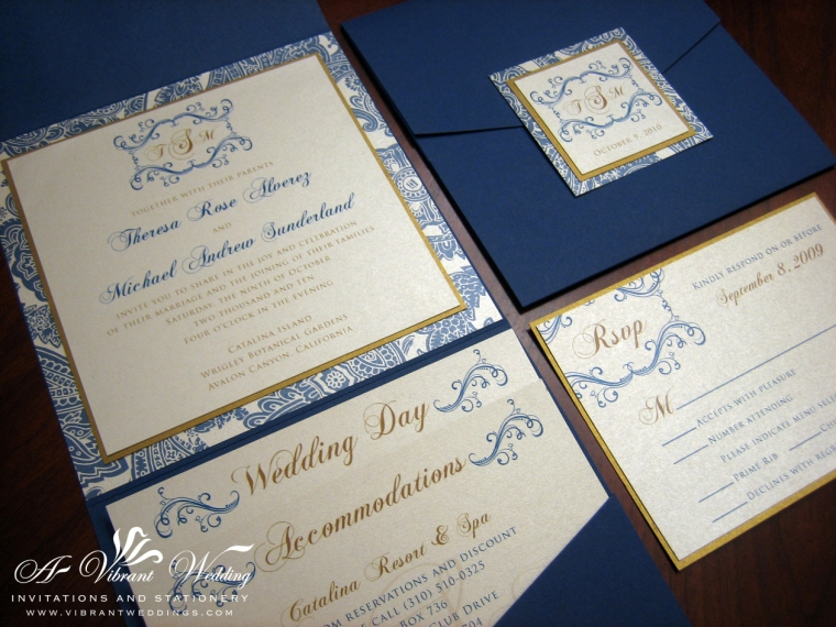 Blue and Champagne wedding invitation