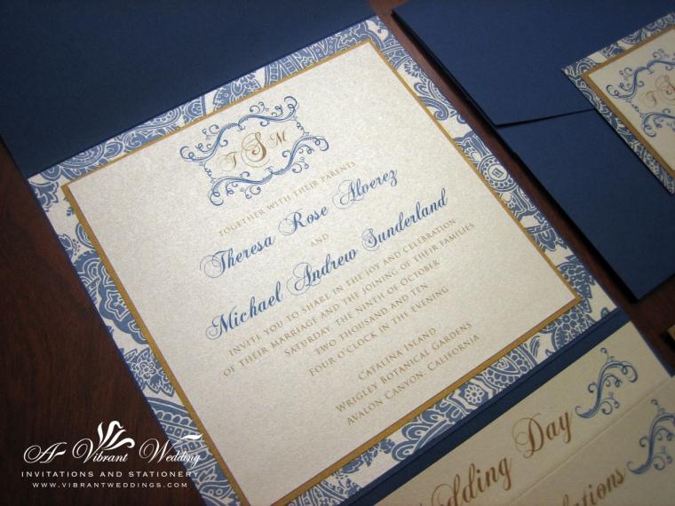 Blue and Champagne wedding invitation