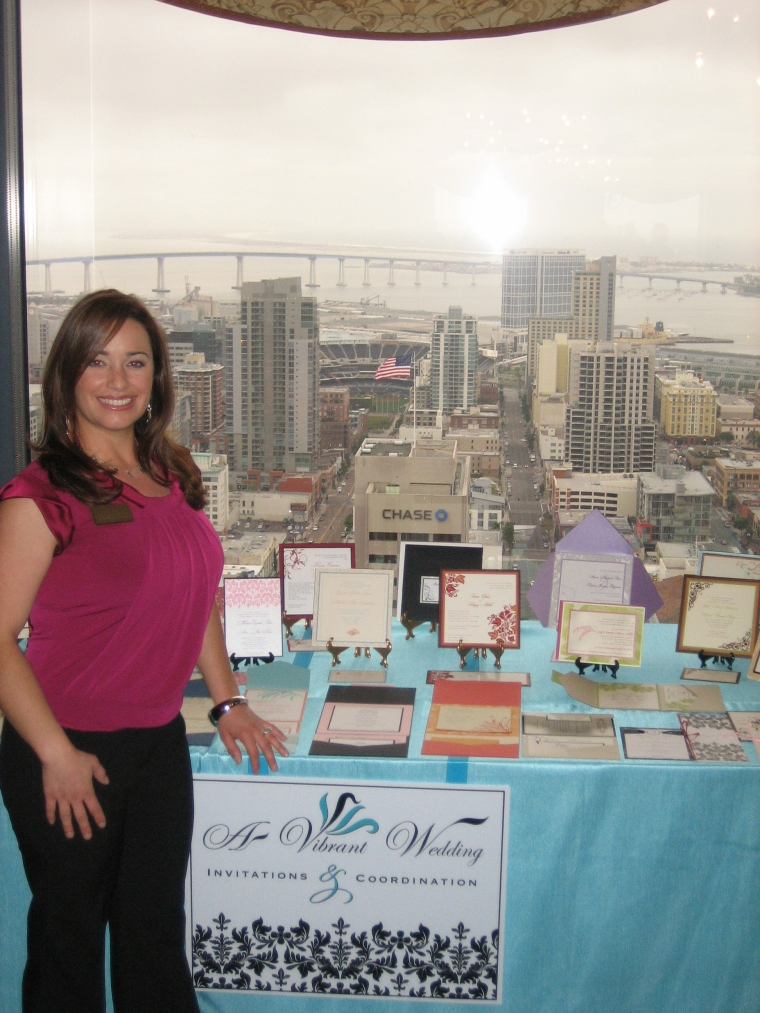 A Vibrant Weddings Table & amazing downtown San Diego, CA view