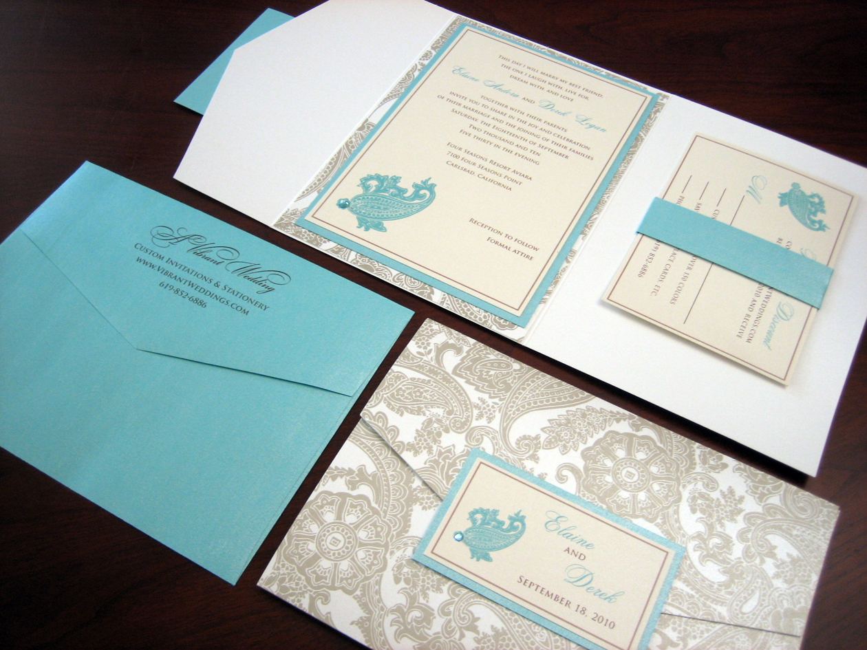 Tiffany Blue U0026 White Pocketfold Wedding Invitation