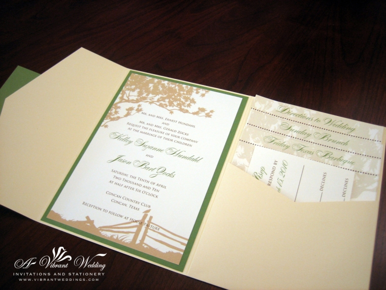 Ivory and green wedding invitation
