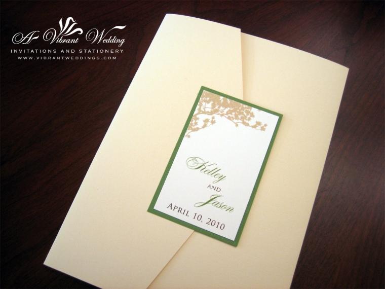 Ivory and green wedding invitation