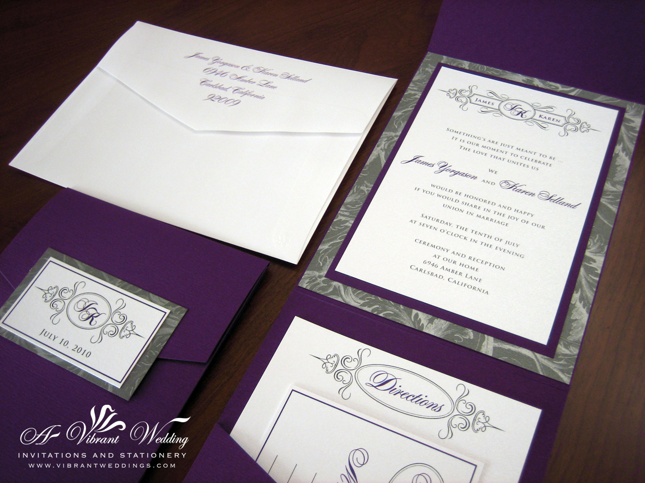 Purple And Silver Wedding Invitation Pocket Fold Style