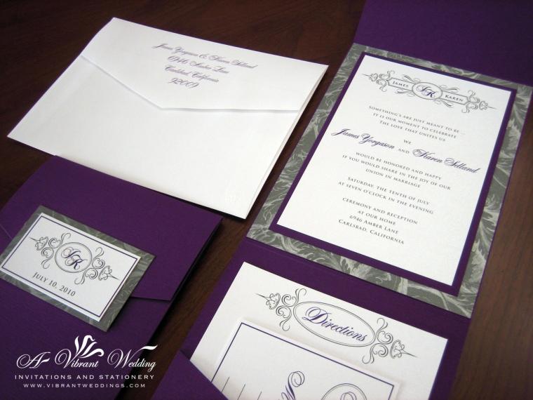 Purple and Silver Wedding Invitation - Pocket-fold Style