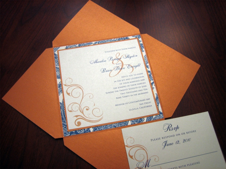 Orange and Blue wedding invitation