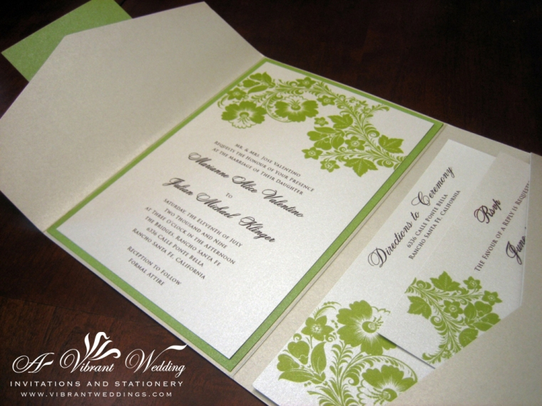 Sage Green & Champagne Wedding Invitation