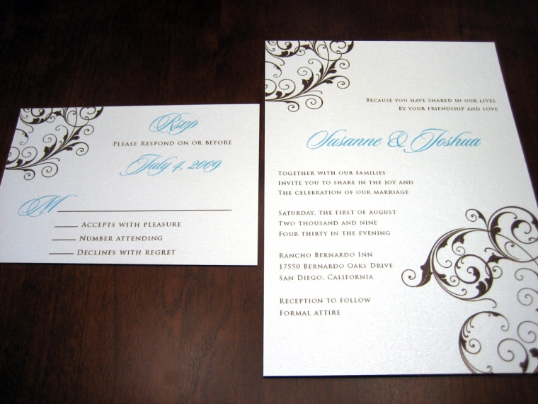 Blue & Brown Scroll Wedding Invitation