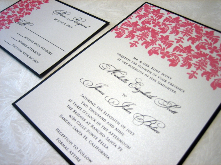 Black & Pink Damask Wedding Invitation