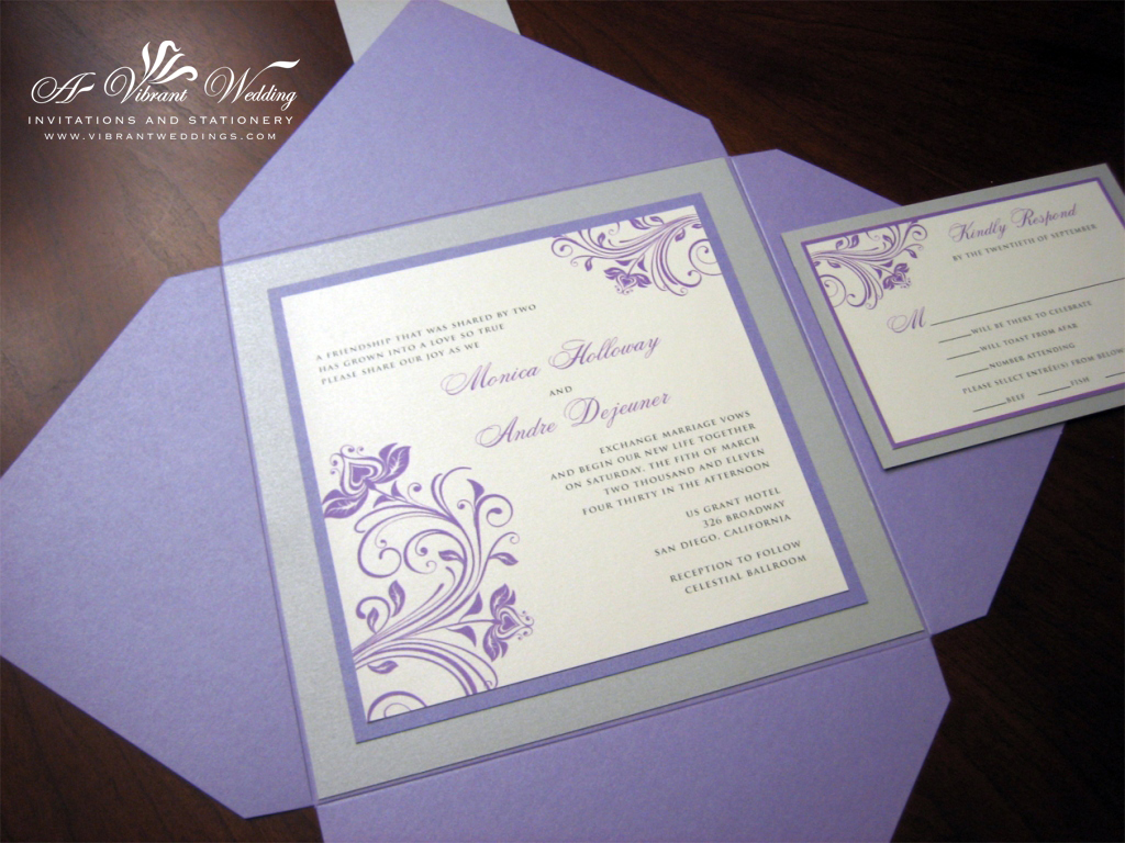 purple and silver wedding invitations