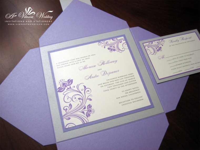 Purple and Silver Wedding Invitation