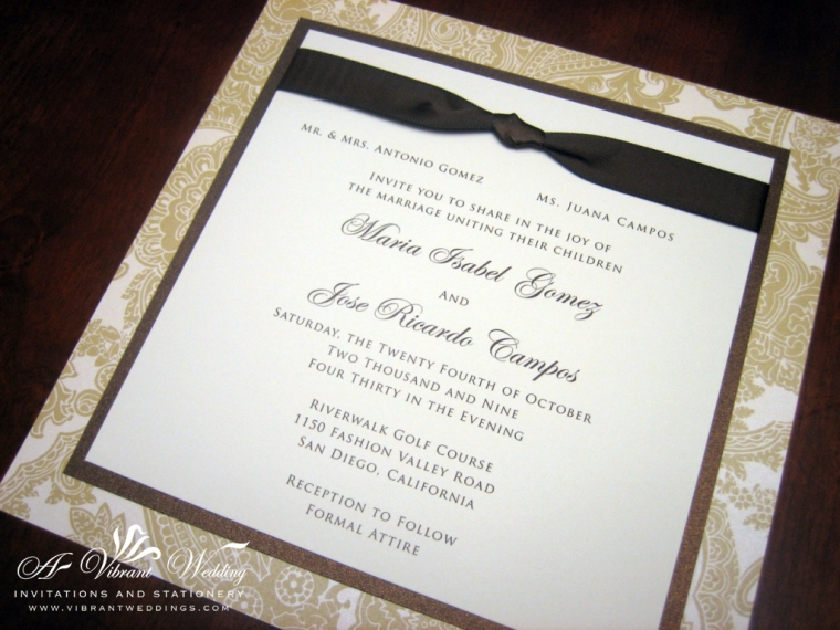 Brown and Ivory Wedding Invitation