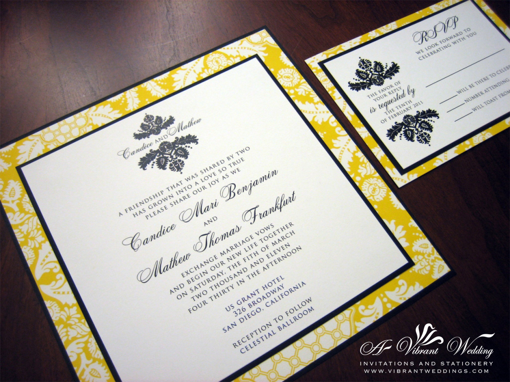 Yellow and Black Wedding Invitation – 7×7″ – A Vibrant Wedding