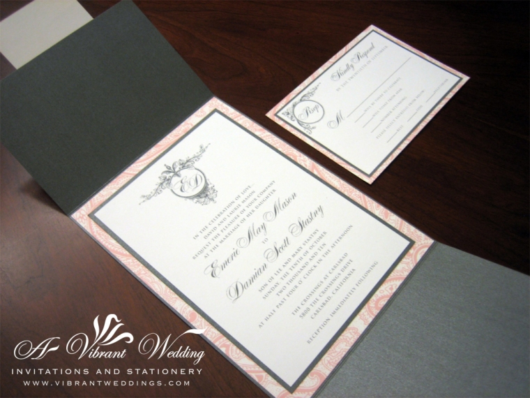 Vintage Pink and Gray Wedding Invitation