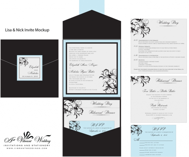 Black blue and Silver Wedding Invitation