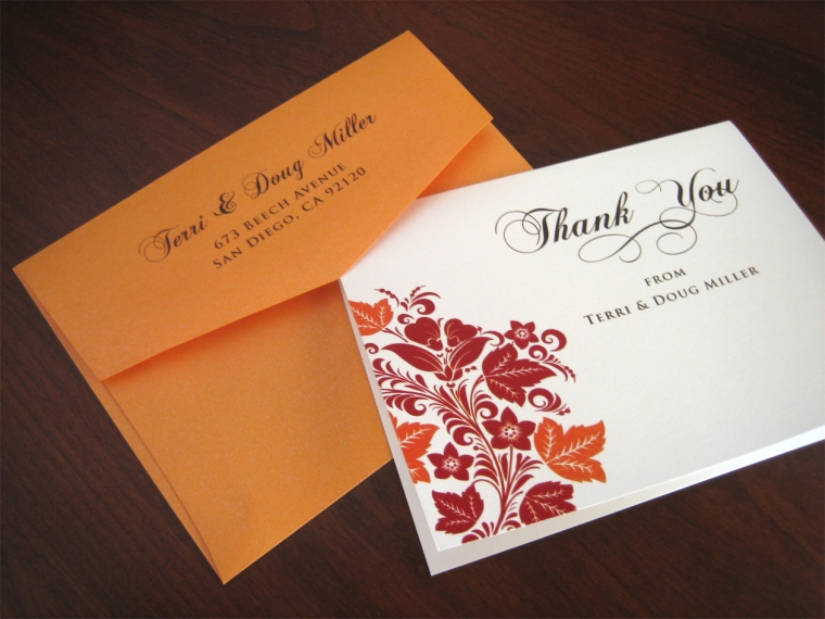 Thank You Cards Red & Orange Fall Theme