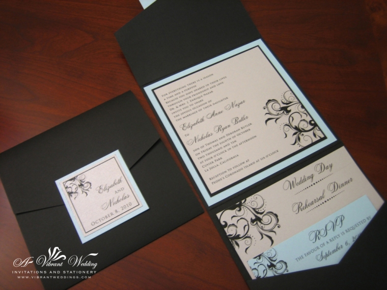 "Black blue and Silver Wedding Invitation, 5.75x5.75"" Pocket fold style"