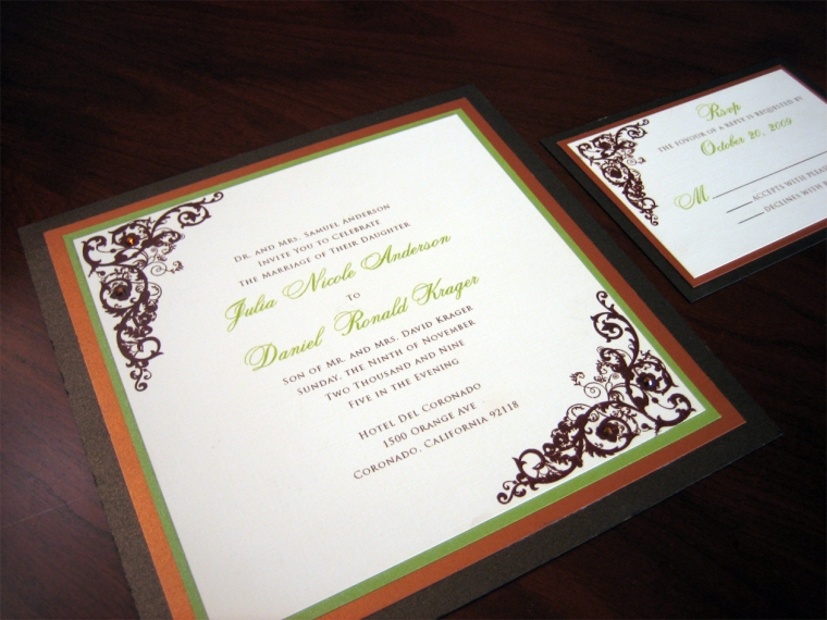 Orange, Green and Brown Wedding Invitation