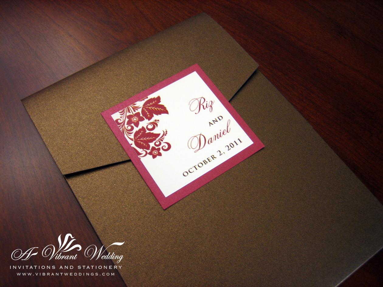 Fall Wedding Invitation Pocket fold style Filipino Wedding A