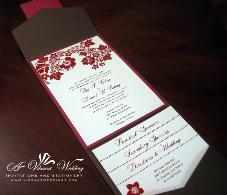 Brown and Red Fall theme wedding invitation.