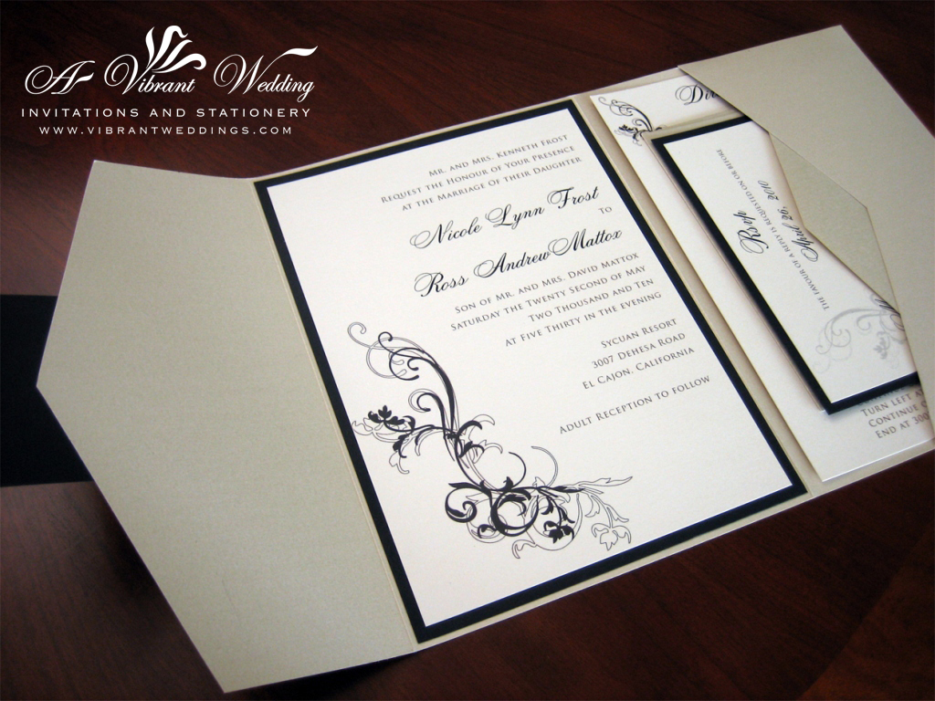 Champagne and Black Wedding Invitation – Pocketfold style – A