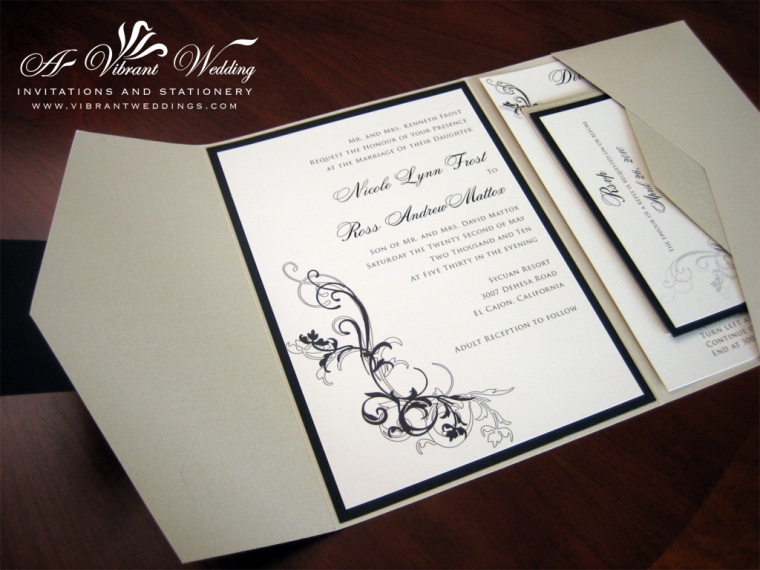 Champagne and Black wedding invitation