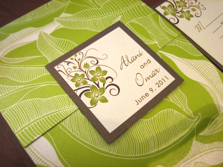 Green and Brown Tropical wedding invitation with Orchids