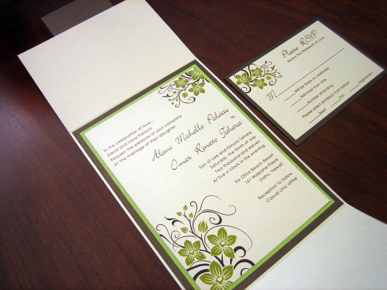 Green & Brown Tropical Wedding Invitation with Orchids ...