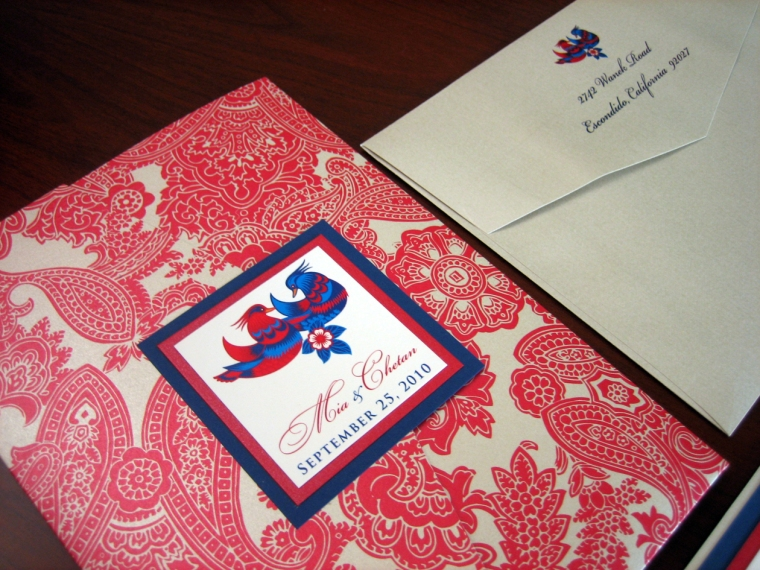 Red and Blue wedding invitation