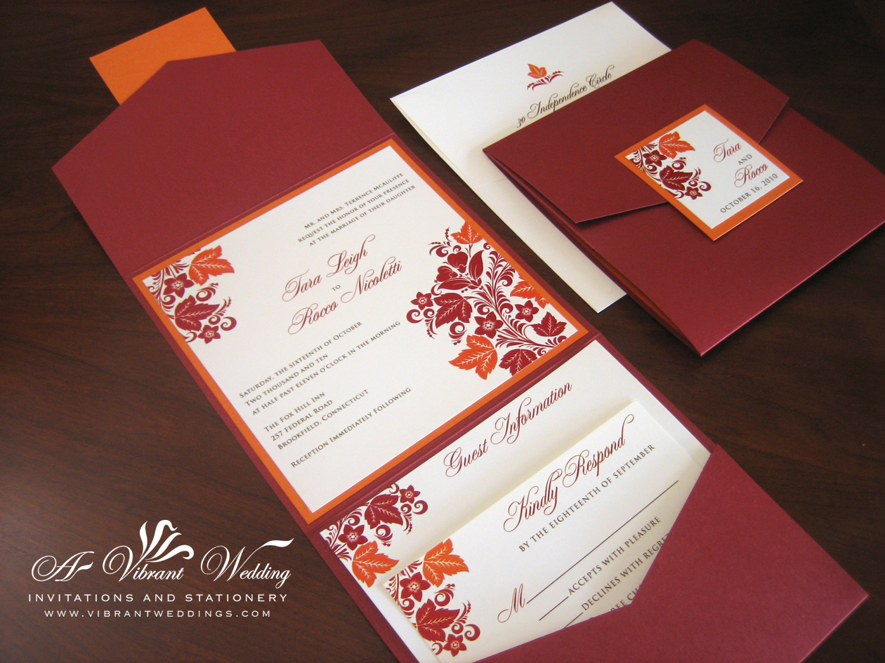 Red And Orange Wedding Invitation