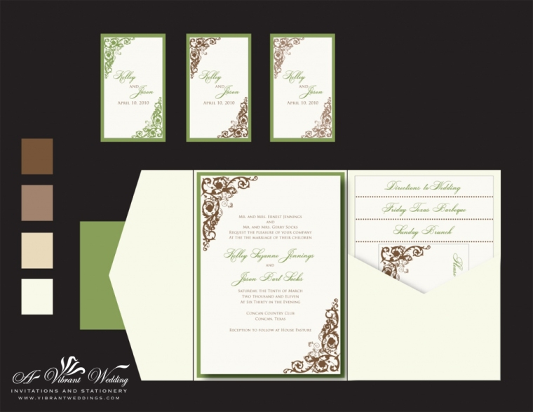 Ivory Green Brown Wedding Invitation