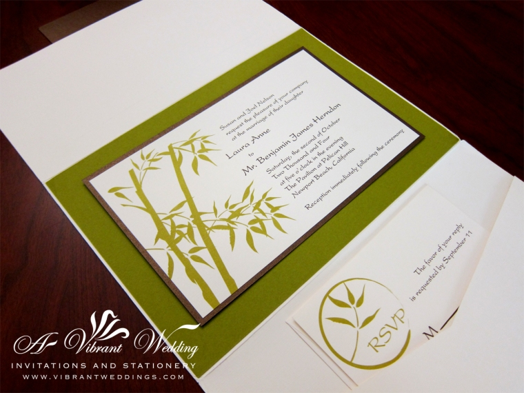 Green Bamboo Wedding Invitation - Asian Theme