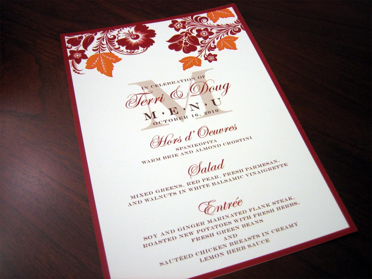 Custom Menu Cards – Red & Orange Fall Theme – A Vibrant Wedding