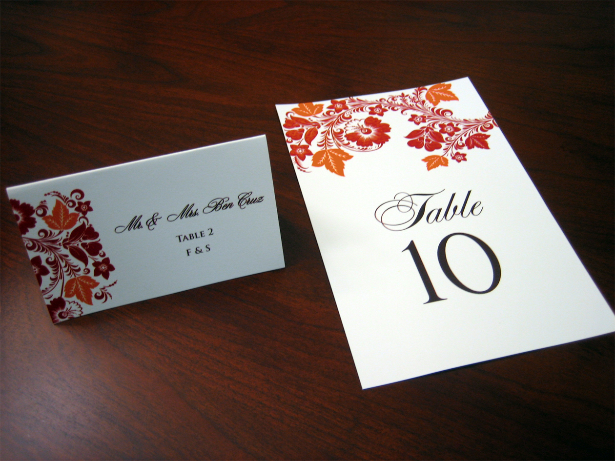 Red and orange wedding invitation a vibrant wedding for Table place cards