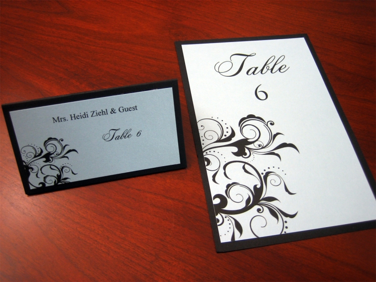 Ice Blue & Black Place Cards & Table Cards