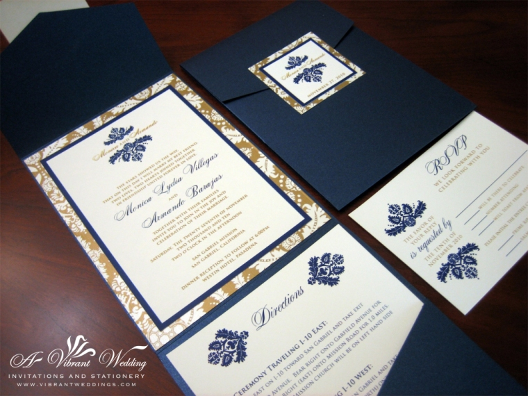 Navy Blue And Bronze Gold Wedding Invitation – Pocketfold Style With Damask Design