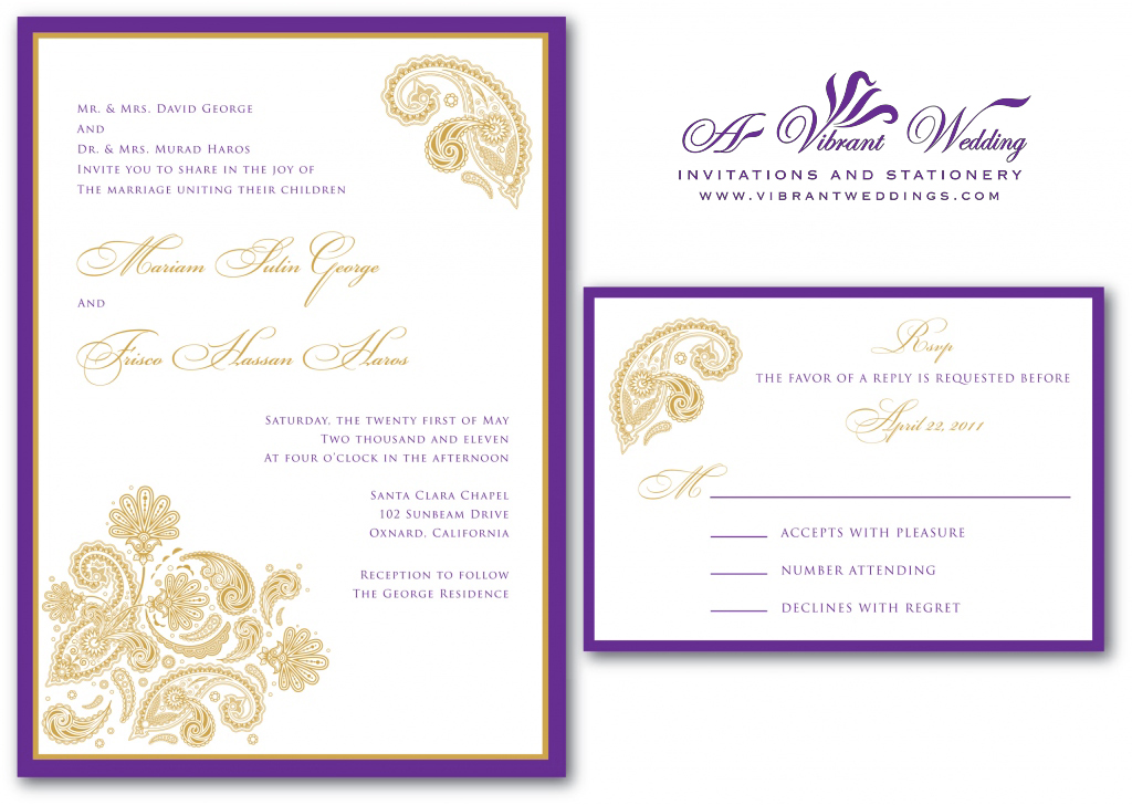 Gold wedding invitation a vibrant wedding