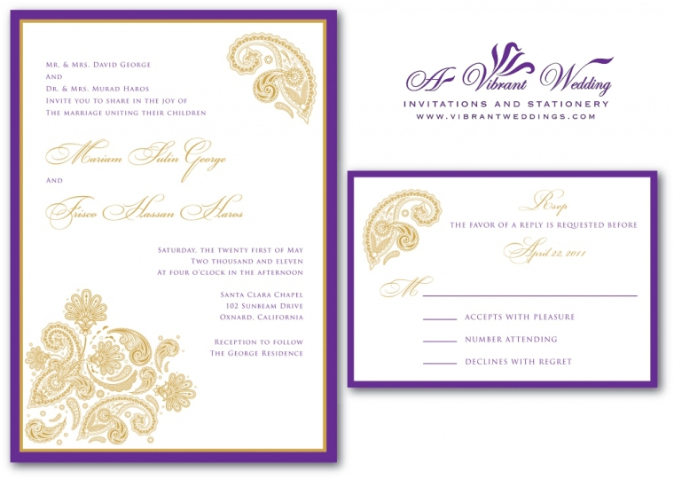 Purple and Gold Wedding Invitation with Paisley Design