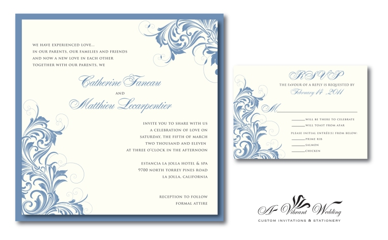 Slate Blue Wedding Invitation with Victorian Design