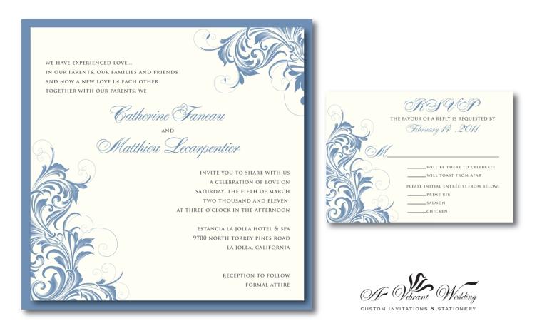 Slate Blue Wedding Invitation with Victorian Design
