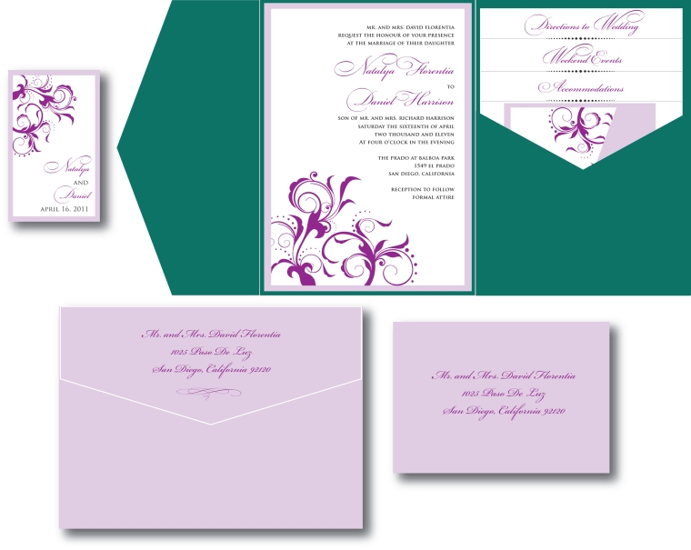 Emerald Green & Lavender Wedding Invitation