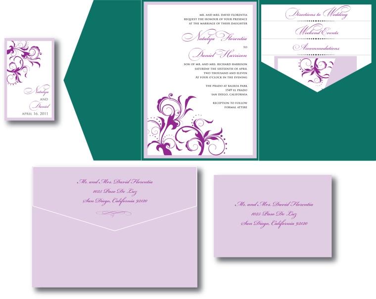 Emerald Green & Lavender Wedding Invitation
