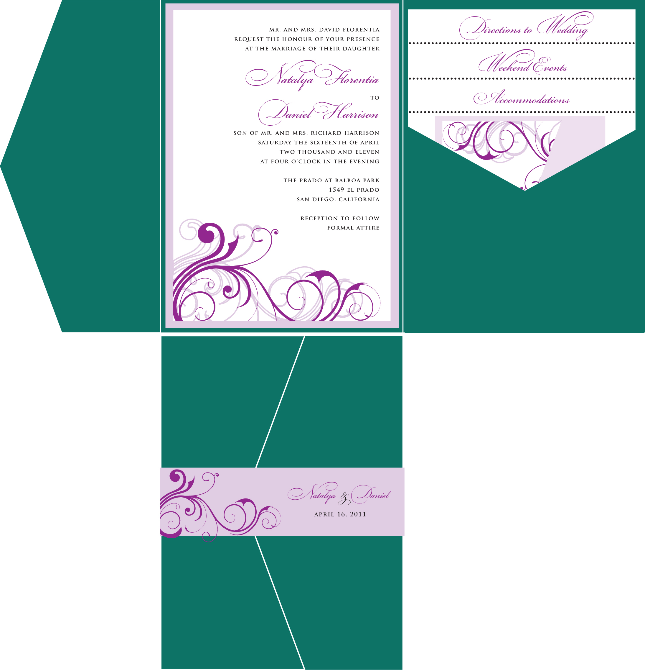 Emerald green purple wedding invitation pocket fold style a emerald green and lavender wedding invitation solutioingenieria Images