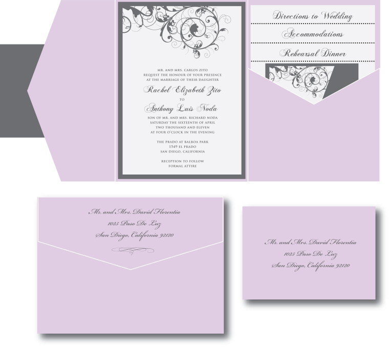 Lavender Purple and Gray Wedding Invitation