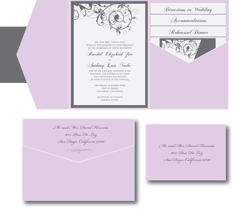 Lavender Purple and Gray Wedding Invitation