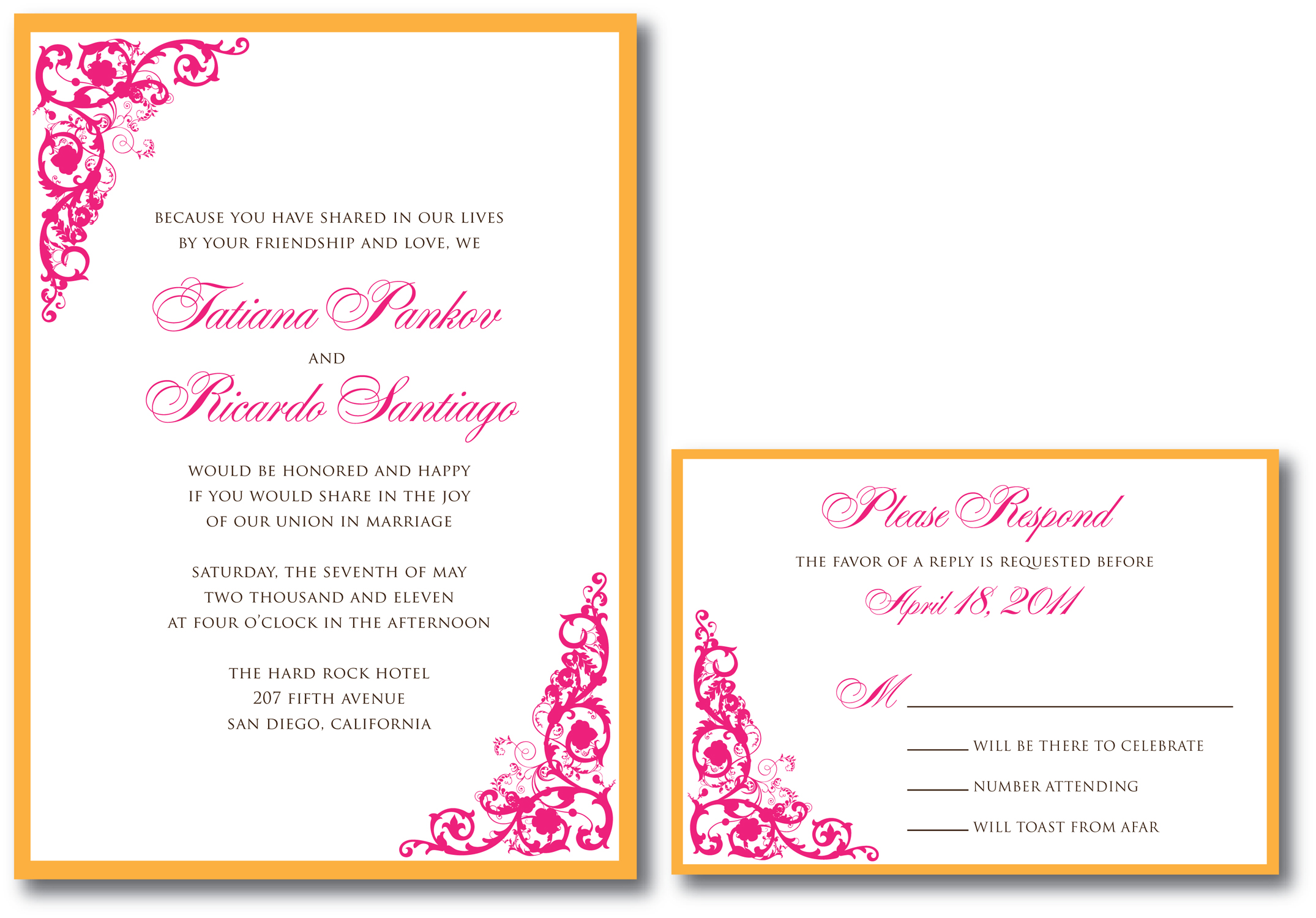 Fuschia And Orange Wedding Invitations: Fuchsia Wedding Invitation